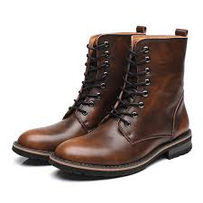 High-quality <b>Men British Style</b> Cow <b>Leather</b> Non-slip High Top ...