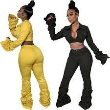 <b>Sexy Women Solid</b> Color Long Sleeve Crop <b>Top</b> Coat+long Pants ...