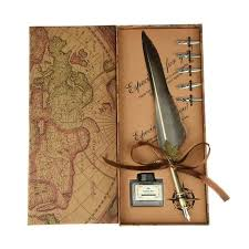 Antique <b>Quill Pen</b> Feather <b>Dip</b> Pen Writing Ink Set Stationery Gift Box ...