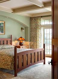 master bedroom with morris designed pattern on spread and drapery and harvey ellis inlaid bed casual sharp mission style bedroom furniture interior