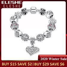ELESHE <b>Luxury</b> Brand Women Bracelet Silver Color <b>Crystal Charm</b> ...