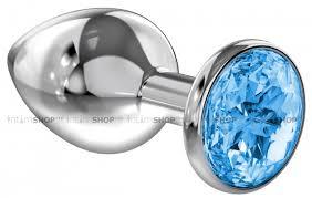 <b>Анальная пробка Diamond</b> Light blue Sparkle Large, голубой 4010 ...