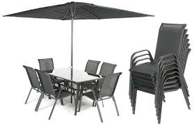 ellister messina table and six chairs patio furniture set black garden furniture