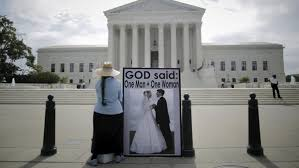 majority invents legal right to same sex marriage an opponent of same sex marriage protests outside the u s supreme court in washington 18 the court s opinion on the issue is expected by late