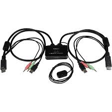 StarTech <b>2 Port</b> DisplayPort Cable KVM Switch with Audio & <b>Remote</b> ...