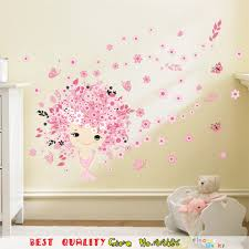 wall decor baby pink flower fairy waterproof wall stickers plum blossom wall art decal