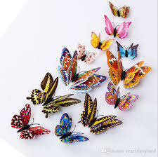 <b>Double</b> Layer Butterfly <b>Luminous</b> Fridge Magnets <b>12PCS 3D</b> ...