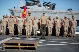 first term marines slow sign another enlistment clb 31 formation aboard the uss green bay lpd 20