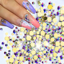 <b>1440pcs pack New SS3</b>-<b>SS12</b> Nail Art Glitter Rhinestones AB Gold ...