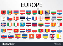 alphabetical country flags continent stock vector  alphabetical country flags for the continent of