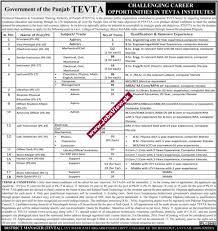 tevta punjab govt jobs 2016 nov principal ps 19 posts apply online click here for advertisement image ad