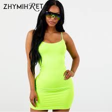 ZHYMIHRET <b>2018 Autumn</b> Neon Color Mini Dress <b>Fall Women Sexy</b> ...