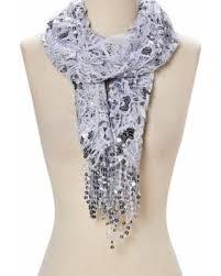 <b>Woman</b> Shiny Floral <b>Tassels Sequined</b> Scarf Lace Stylish Shawl ...