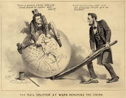 reconstruction era a political cartoon of andrew johnson and abraham lincoln 1865 entitled the rail splitter at work repairing the union the caption reads johnson take