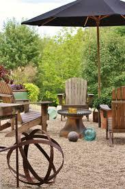 bistro set patio garden yard backyard pea gravel on patio  pea gravel on patio