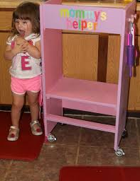 kids wood kitchen helper stool learning