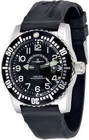 Zeno Airplane Diver Black Dial Silicone Strap Men's ... - Amazon.com
