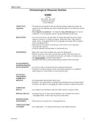job resume outline example chronological resume outline job resume outline example chronological resume outline
