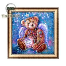 <b>FineTime DIY Diamond</b> Embroidered <b>5D</b> Cute Teddy Bear Picture ...