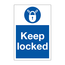 Vertical Keep Locked Safety Sign