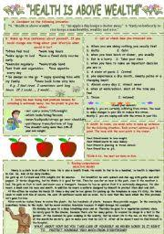 english teaching worksheets health quothealth is above wealthquot different activities connected with topic quothealthquot level intermediate age   downloads