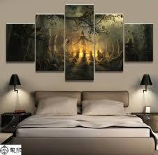 5 Pieces <b>Halloween Theme</b> Pumpkin Canvas <b>Printed</b> Home Decor ...
