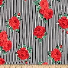 Telio Playtime Cotton Poplin Floral Stripe Red Fabric ... - Amazon.com