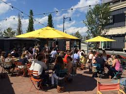 patio dining: american fresh beer garden assembly row by somerville