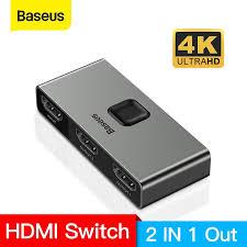 HOT HOT <b>Baseus HDMI Splitter 4K</b> 60Hz Bi-Direction HDMI Switch ...