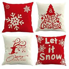 Freeas <b>Set of 4 Christmas</b> Pillow Cover Cotton Linen Decorative ...