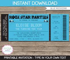 rockstar party ticket invitation template blue birthday rockstar birthday party ticket invitation template blue
