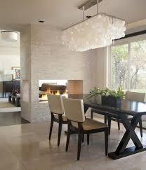 double sided fireplace modern dining room capiz shell chandelier capiz shell lighting fixtures
