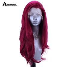 Anogol Burgundy LOL Xayah Synthetic <b>Lace Front</b> Wig <b>High</b> ...