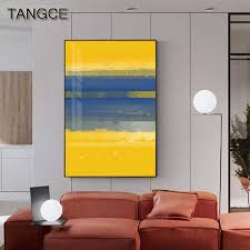 <b>Abstract Yellow Blue</b> Block Canvas Art Modern Painting Big Posters ...