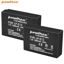 <b>Powtree For Canon</b> 7.2V 1800mAh 2PCS LP E12 LP E12 LPE12 ...