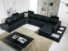gallery of contemporary black leather living room furniture for modern apartment design with black painted wood modern shelves also black leather arms sofa awesome black painted