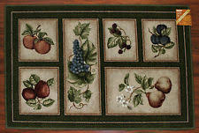 grapes grape themed kitchen rug: x kitchen rug mat green beige cute washable fruit grapes pears apples peach