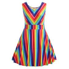 Vintage Plus Size Rainbow <b>Printed</b> A-Line <b>Camis Mini</b> Dress ...