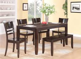 4 chair kitchen table: full size of kitchen rectangle dark brown table with bench and four armless chairs ideas of