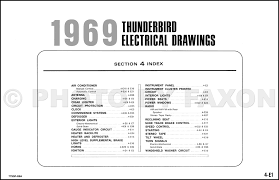 ford thunderbird factory wiring diagram original table of contents page
