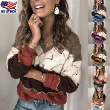 <b>V</b>-<b>Neck Striped</b> Regular Size Sweaters for <b>Women</b> for sale | eBay
