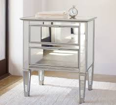 park mirrored 2 drawer bedside table pottery barn bed side furniture