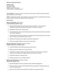 simple warehouse specialist resume warehouse specialist inventory specialist resume