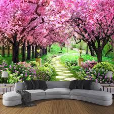 <b>Custom 3D Photo Wallpaper</b> Flower Romantic Cherry Blossom Tree ...