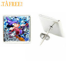<b>TAFREE high quality</b> 5D mouse square stud earrings women silver ...