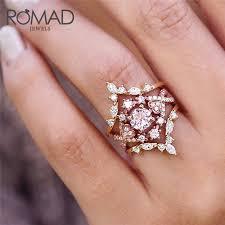<b>ROMAD</b> Rose Gold Wedding <b>Rings Cubic Zirconia Ring</b> for Women ...