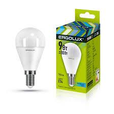 Электрическая светодиодная <b>лампа Ergolux</b> LED-G45-<b>9W</b>-<b>E14</b> ...