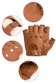 Men's <b>Genuine Leather</b> Gloves, Deerskin <b>Fingerless</b> Gloves <b>Half</b> ...
