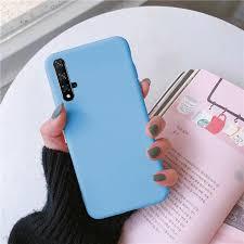 Luxury <b>Solid Color</b> Sky Blue <b>Candy Color</b> Matte Soft <b>TPU</b> Phone ...