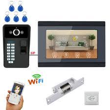 MAOTEWANG <b>7 inch Wired / Wireless Wifi</b> Fingerprint Video Door ...